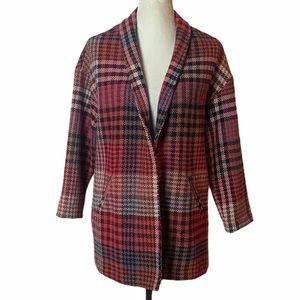 Rachel Zoe Plaid Wrap Jacket Small